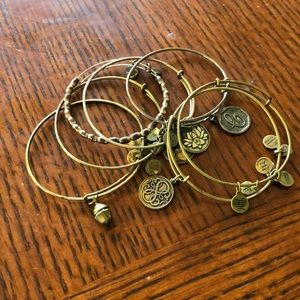 Alex and ani lot of 7 bangle charm bracelets
